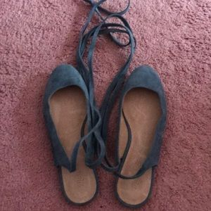 Blue Suede Madewell flats with tie up laces